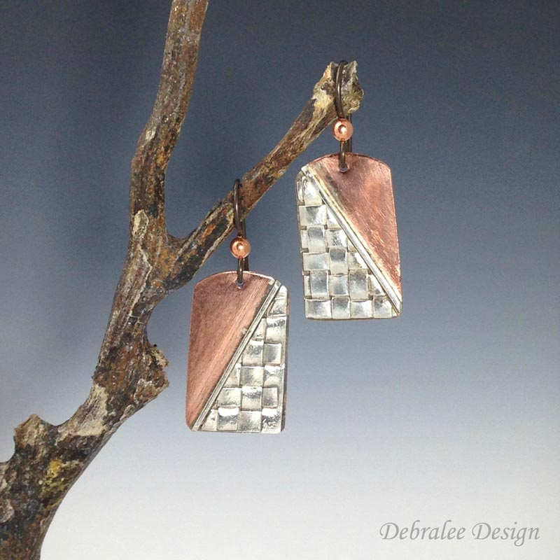 Silver Weave on Copper Earring