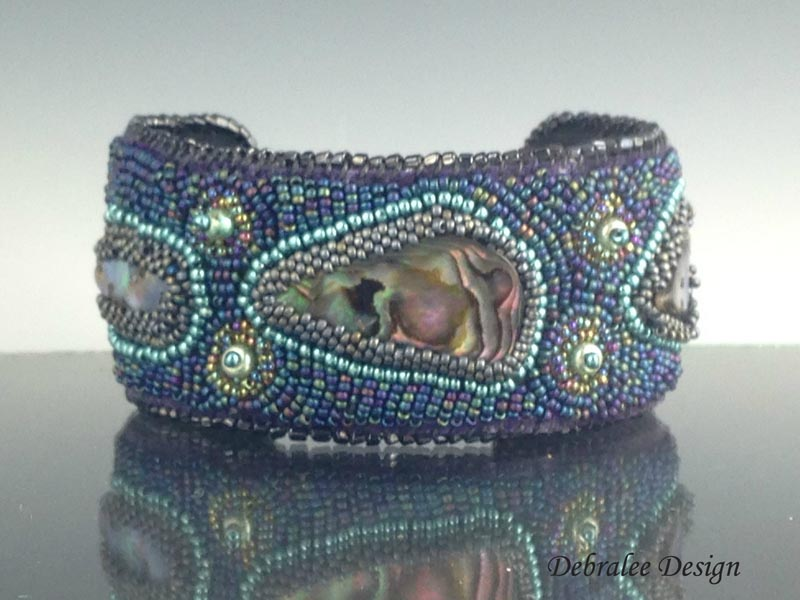 Abalone Bead Embroidered Cuff